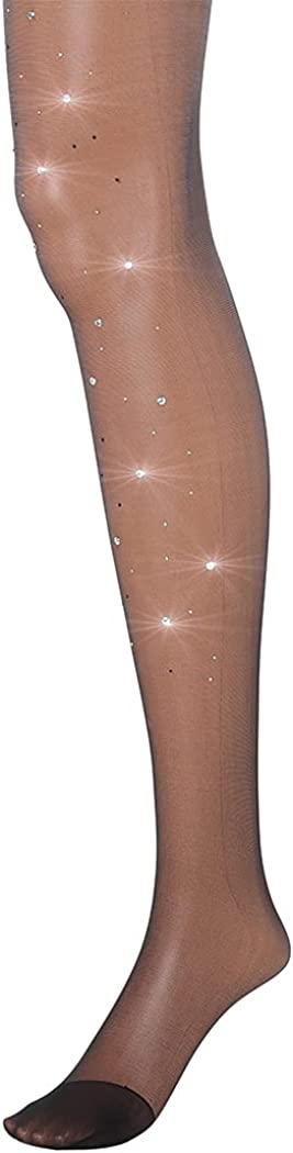 Campsis Glitter Sheer Pantyhose Black Silk Stockings with Bling Crystal Elastic High Waist Tights Nightclub Party for Women and Girls(1Pair)