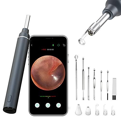 VITCOCO WiFi Ohrenreiniger Otoskop mit Camera 3.5mm Ohr Endoskop 5 Millionen Pixel HD Ohrenschmalz Entferner mit 6 LED Leuchten Reinigungs Werkzeug Universal Für iPhone/iPad, iOS, Android-Grau
