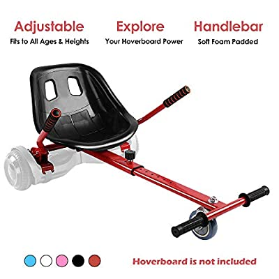 Hoverboard Kart, Hoverboard Seat Attachment Accessories for Self Balancing Scooter Go Kart Conversion Kit Hover Board Cart Buggy Attachment Fits 6.5'' 8'' 10'' Adjustable for All Heights & Ages Red