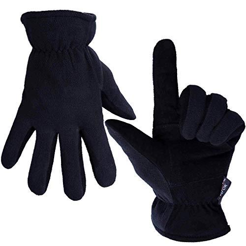 OZERO Hirschleder Winterhandschuhe, Thermo Lederhandschuhe Skihandschuhe Fahrradhandschuhe für Herren und Damen,L,Denim-schwarz