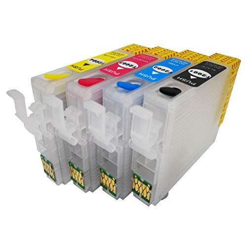 F-INK leere wiederaufladbare Tintenpatrone kompatibel für Epson 29 oder 29XL Tintenpatronen 4 Farben T2991 Schwarz T2992 Cyan T2993 Magenta T2994 Gelb