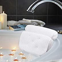 AmazeFan Bath Pillow, Bathtub Spa Pillow with 4D Air Mesh Technology and 7 Suction Cups, Helps Support Head, Back, Shoulder and Neck, Fits All Bathtub, Hot Tub and Home Spa