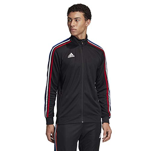adidas Men's Essentials 3-stripes Tricot Track Jacket (BLACK / POWER RED / WHITE / BOLD BLUE, X-Large)