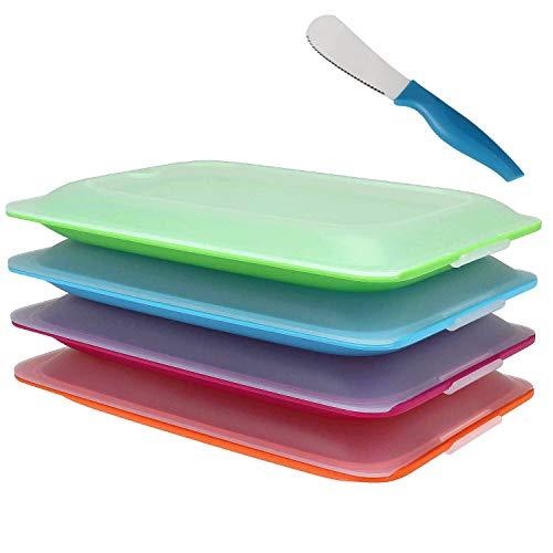 K&G TA11 Hochwertige Aufschnitt-Boxen 4er Set + Buttermesser stapelbar Stapelboxen Vorratsdosen Servierplatte Foodcenter Küchen-Dosen Kühlschrankdosen Aufbewahrungsboxen Wurst Käse