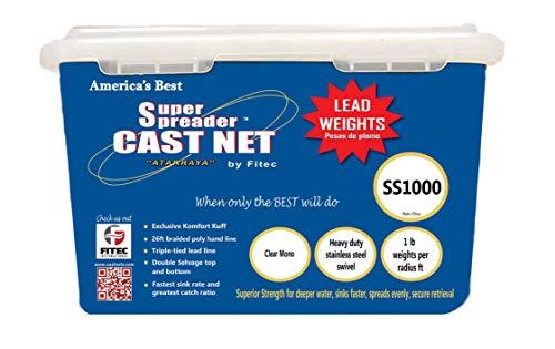 """Fitec SS1000 Super Spreader Cast Net Clear 6' Radius, 3/16"""" mesh, 1 Lb WTS"""