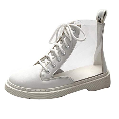 Botas de Agua Altos de tacón cuña para Mujer Otoño Invierno 2018 PAOLIAN Botines Militares PVC Transparentes Zapatos de Señora Moda Calzado de Dama con Cordones Retro Botas clásicas