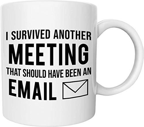 Taza de café divertida con texto en inglés «This Meeting debería haber sido un correo electrónico», 325 ml, regalo perfecto para marido, esposa, padre, madre, cotrabajadores, jefe y amigos
