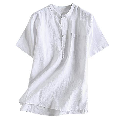 LHWY Camisa de Hombre Tops Shirt 2019 New Camisa de algodón con botón de Color sólido, Transpirable, Fina y Fresca, para Hombres de Verano, Manga Corta,Blanco,XXXL