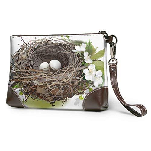 Yushg Bolso de embrague suave y resistente al agua Bolso de embrague de mano con huevos y nido de pájaro con cremallera para mujeres niñas