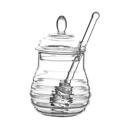 MINGZE Honey Jar Pot, avec louche et couvercle, Transparent, en verre à haute teneur en borosilicate pour cuisine à domicile, 250 ml