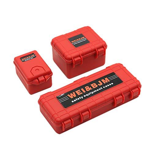 Fltaheroo 3 Unids Plástico RC Caja de Almacenamiento de Coche Herramienta de Decoración para Trx4 Axial Scx10 90046 D90 1/10 RC Accesorios de Rastreador Rojo