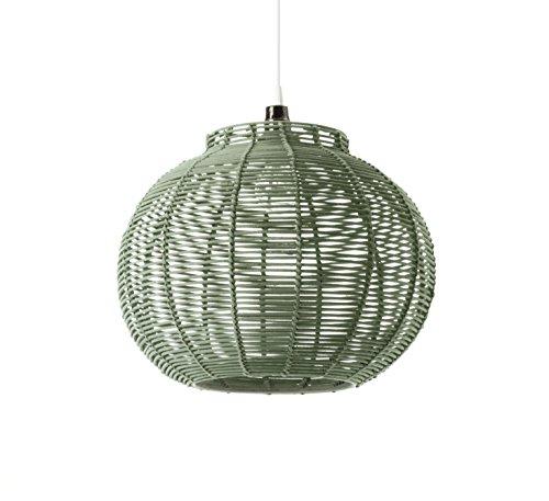 LUSSIOL Luminaire Korba - Lámpara Colgante de ratán, 60 W, Verde, 30 x 24 cm