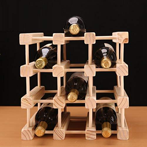 XXY 3-stufige stapelbare Weinregal-Faltbare Holz-Arbeitsplatte Kabinett Weinhalter Ablagekeller-frei stehend-perfekt für Bar, Weinkeller, Keller, Schrank, Pantry, etc-Hold 12 Flaschen, Holz.