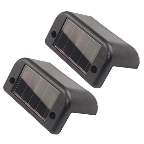 OSALADI 2 STÜCKE Wasserdichte Solar Schritt Lichter LED Treppenlichter Deck Geländer Lichter Outdoor Security Beleuchtung für Hof Zaun Terrasse Wege Gehweg (Black Shell/Weißes Licht)