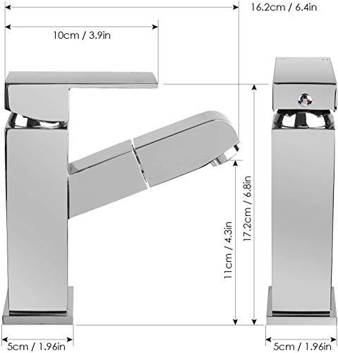 Homfa ausziehbare Waschtischarmatur. Küchenarmatur mit Einhandmischer, ausziehbarer Schlauchbrause und Keramik-Kartusche aus verchromtem Messing - 6