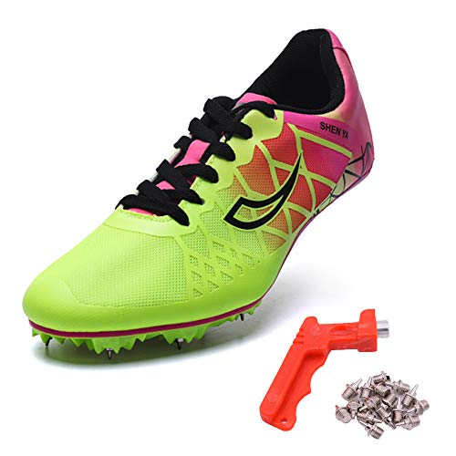 Ifrich 2019 Men Spikes Athletics Racing Shoe Track and Field (US 10, Rose) …