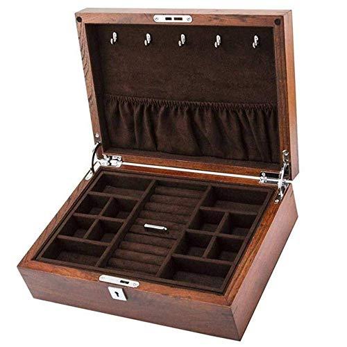 NHLBD Old ELM Pure Wooden Double Joyery Jewelry Jewelry Bangle Collection Caja de Almacenamiento con la Moda de Bloqueo (Color : Brown)