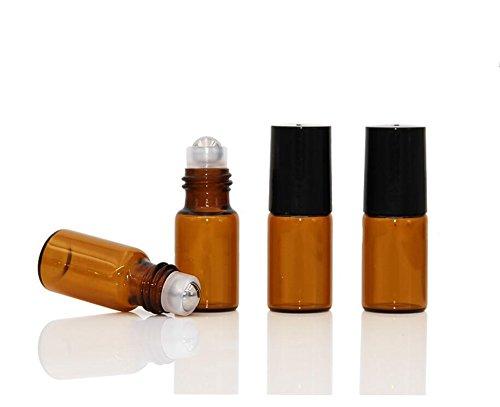 12 botellas vacías de cristal de ámbar en rodillo, con bolas de acero y tapa negra, para aceites esenciales (5 ml)
