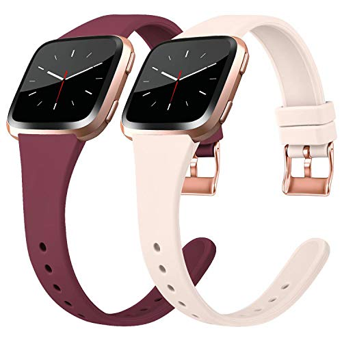 Tobfit Silicone Slim Bands Compatible for Fitbit Versa 2/Versa/Lite/SE, Narrow & Thin Sport Wristbands with Metal Buckle for Women/Men, Wine Red/Sand Pink, Small