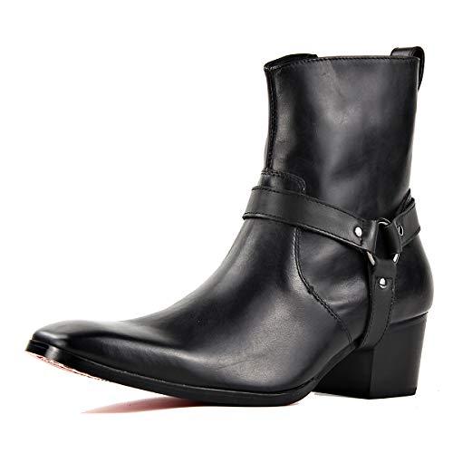OSSTONE Chelsea Stiefel für Männer High Heels Herren Kleid Schuhe Reißverschluss Stiefel JY002-DE schwarzes Leder mit Gürtel 12