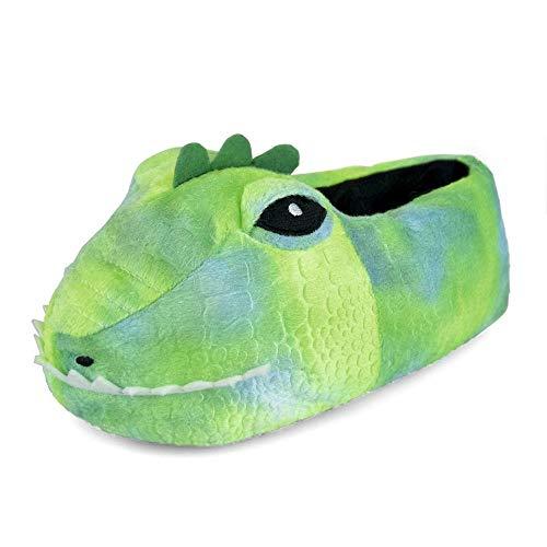 Boys Dinosaur Head 3D Plush Novelty Slippers - Green UK 13-1