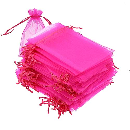 100 set Organza Bags, 4x6 inches (10x15cm) Sheer Drawstring Gift Bags, Hot Pink Organza Jewelry Pouches, Wedding Party Favor Pouches, Jewelry, Cosmic Business, Christmas Party Favor Bags (Hot Pink)