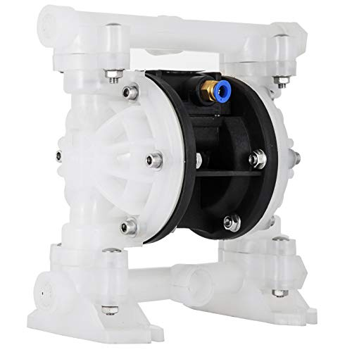 Patiolife Air-Operated Double Diaphragm Pump 1/2 inch Inlet and Outlet Port Diaphragm Air Pump 7GPM Max Flow Pneumatic Diaphragm Pump 100PSI with Polypropylene for Chemical Industrial Use