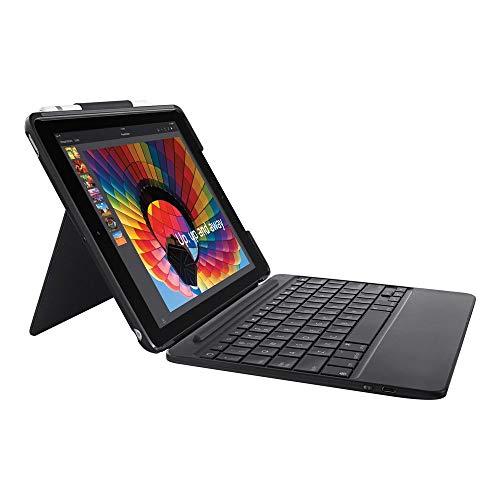 Logitech Slim Combo Case con teclado Bluetooth retroiluminado desmontable para iPad (5ª y 6ª generación), color negro