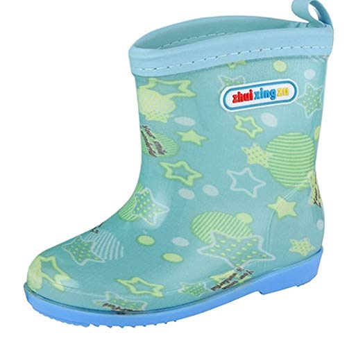 KONFA Baby Boys Girls Candy Waterproof Rainshoes,for 2.5-6 Years old,Kids Fashion Stars Letter Print Rain Boots (Mint Green, 2.5-3 Years old)