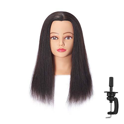 "Hairingrid Mannequin Head 18""-20""100% Human Hair Hairdresser Cosmetology Mannequin Manikin Training Head Hair and Free Clamp Holder ( R71818LB0214H )"