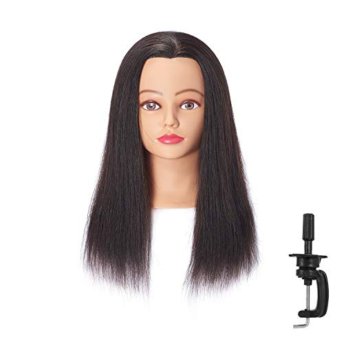 Hairingrid Mannequin Head 18-20100% Human Hair Hairdresser Cosmetology Mannequin Manikin Training Head Hair and Free Clamp Holder ( R71818LB0214H )