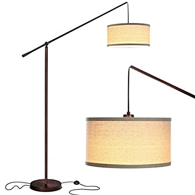 Brightech Hudson 2nd Gen Pendant Floor Lamp - Classic Elevated Crane Arc Floor Lamp with Linen-Textured Hanging Lamp Shade- Tall, Industrial, Uplight Lamp for Living Room