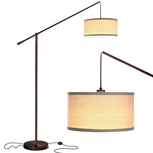Brightech Hudson 2 - Contemporary Arc Floor Lamp Hangs Over The Couch from Behind - Large, Standing Pendant Light - Mid Century Modern Living Room Lamp - W. LED Bulb - Oil Rubbed Bronze