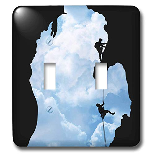 2 Gang Wall Plate Cover Decorator Wall Switch Light Plate Double Toggle Switch Michigan Climbers Shows Two People Rock Climbing Within A Silhouette Classic Beadboard Unbreakable Faceplate