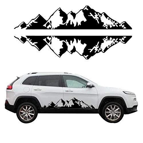 giftcity Mountain Decal 1 Set Car Graphics Side Vinyl Sticker Decals for Cars/Ford/SUV/Jeep Wrangler, Universal Full Body Car Decals (Black)