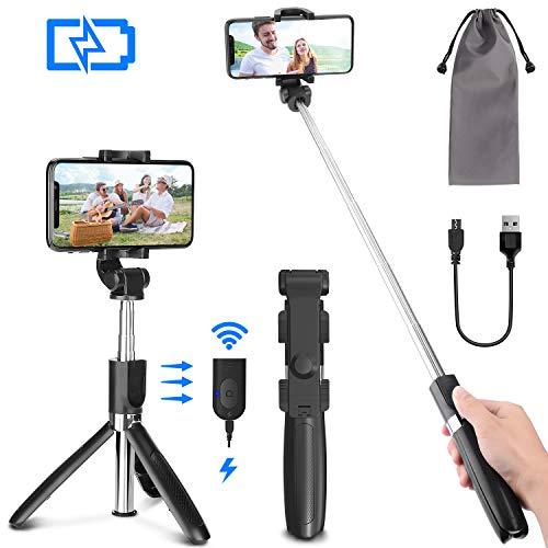 mejores Palos Selfie PEYOU Palo Selfie Trípode para Móvil, [ Recargable ] Palo Selfie con Control Remoto Bluetooth, Mini Selfie Stick Compatible para iPhone XS MAX XR 8 Plus, Compatible para Samsung Huawei Xiaomi