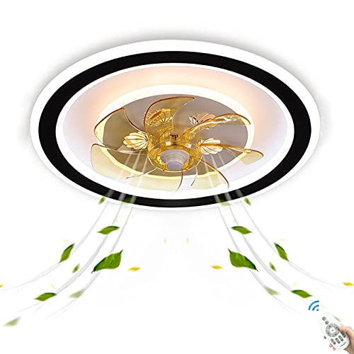 Grande PotenteAmarillo Plafon Lámpara Ventilador de Techo Dormir con Luz LED Luces y Mando a Distancia Ultra Silencioso Modernas Temporizador Fan Iluminación Infantil Dormitorio Habitacion Oficina