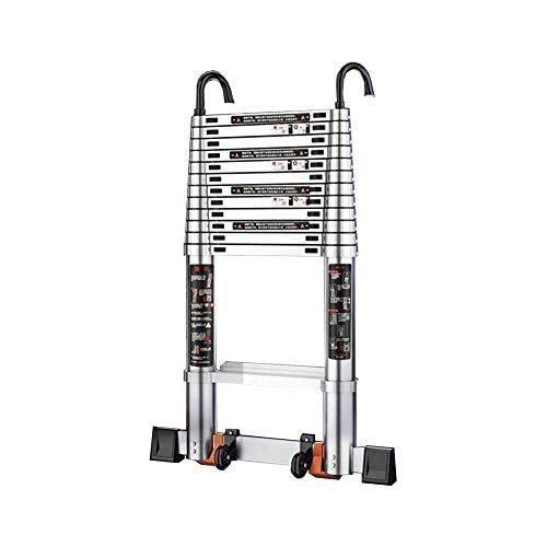JIACTOP Escalera de Aluminio telescópico Desmontable con Gancho, una Escalera de extensión Multiuso for Industrial diarias del hogar o del Empleo de Emergencia, 330 LB Capacidad de Carga Grande