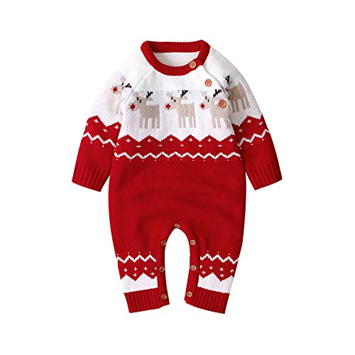mimixiong Baby Christmas Sweater Romper Knitted Reindeer Jumpsuit Outfits (0-6 Months, Red)