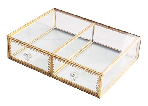 Antique Beauty Display Clear Glass 2 Drawers Palette Organizer, Cosmetic Storage, Makeup Container 2 Cube Jewelry Case Holder/Beauty Dresser Vanity Cabinet Decorative Keepsake Box