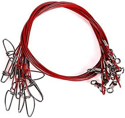 LPATTERN Fishing Wire Leaders Fishing Leaders Line with Swivels Kits Snap Connector Tooth Proof Stainless Steel 20 Pcs