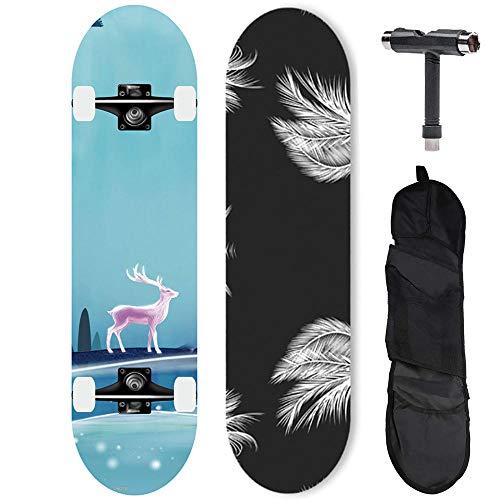LBYMYB Patineta Profesional Completa Principiante Tabla de Skate Completa 31 Pulgadas Maple Longboard patineta Avanzada-Escribe un