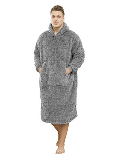 ililmmoe Sherpa Wearable Blanket Oversized Hoodie Sweatshirt TV Blanket with Long Sleeves and PocketGray