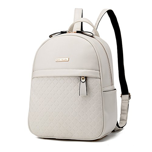 Sunas mujeres doble hombro bolsa cartera PU en relieve estudiante bolsa mochila de viaje