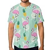 Camiseta de manga corta para hombre, diseño de piña y palma, color rosa Multicolor multicolor L