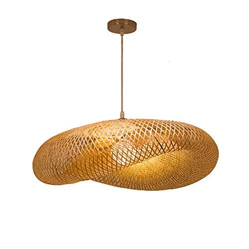 Naturel rotin Herbe lampe pendentif bambou chapeau de paille Lampe suspension bambou porte-lampe E27 suspendue tissage à la main lustre lampe abat-jour Creative restaurant vivant lampe chambre,50CM