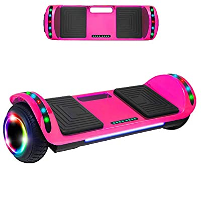 Beston Sports Newest Generation Electric Hoverboard Dual Motors Two Wheels Hoover Board Smart self Balancing Scooter with Built in Speaker LED Lights for Adults Kids Gift (Chrome Pink)