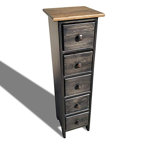 Peaceful Classics Skinny Drawers Cabinet Amish Furniture Mocha Finish | Tall Thin Wood Cabinet for Bedroom Storage Cabinet, Accent Cabinets