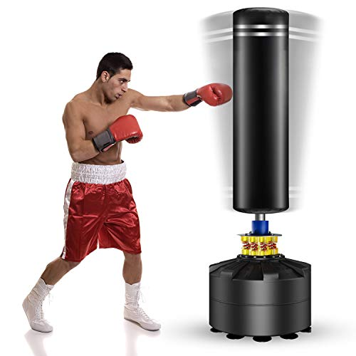 Twomaples Freestanding Punching Bag, 69 inch Heavy Bag with Suction Cup Base Stand Kickboxing Bags for Adult Youth, Heavy Punching Bag with Stand Kick Punch Bag (Black)