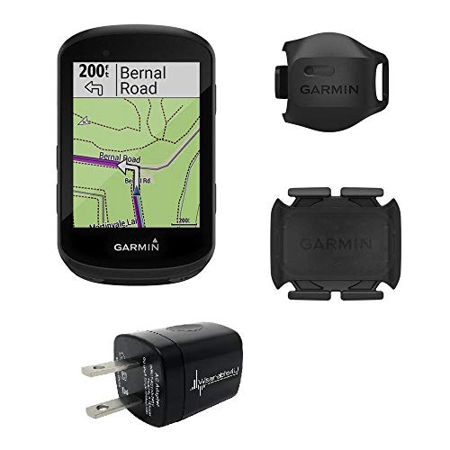 Garmin Edge 530 GPS Cycling Computer with included Garmin 2nd Gen Speed and Cadence Sensors and Wearable4U Wall Charging Adapter Bundle